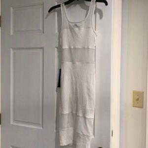 Bebe XXS White Midi Dress w/ Sheer Panels
